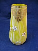 SMALL ANTIQUE HAND BLOWN GLASS VASE W RAISED HAND PAINTED DECORATION