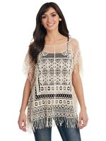 Ladies Cowgirl Up Poncho Style Lace Blouse w/Fringe CG70308 Size Small