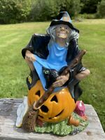 Vintage Byron Mold Hand Painted Ceramic Witch Pumpkin Cat Halloween Light