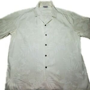 Pacific Legend Mens White Floral Hawaiian SS Camp Shirt Made in Hawaii Size XL