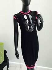 Authentic CHANEL Cashmere Dress Size 38 Black Pink Embroidery