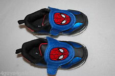 Toddler Boys LIGHT UP SPIDERMAN SHOES Athletic EASY ON OFF Red Blue Black SIZE 7