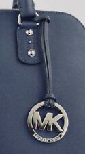 New Michael Kors Large Silver Charm Navy Blue Saffiano Leather Strap Handbag Fob