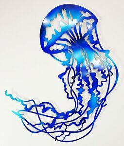 Large Jellyfish Metal Hanging Wall Art Sea Life Ocean Coastal Home Décor 64 cm