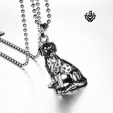 Silver Stainless Steel sitting Dalmatian Pendant dog Chain Necklace