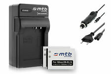 2x Baterìas EN-EL12 + Cargador para Nikon Coolpix S9100, S9200, S9300, S9400