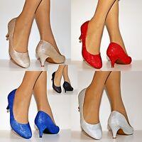 Womens Ladies Low Kitten Heel Evening Party Bridal Court Shoes Pumps Size/8-19