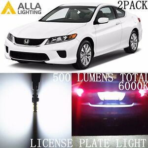 Alla Lighting 6000K LED License Plate Tag Bulb Light 168 2825 White for Honda 2X