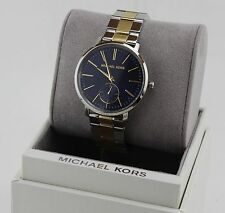 NEW AUTHENTIC MICHAEL KORS JARYN SILVER GOLD BLUE WOMEN'S MK3523 WATCH
