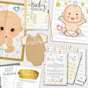 BABY SHOWER GAMES - Boy Girl Unisex Baby Bingo - Baby Prediction Party Games