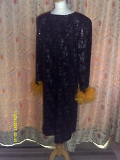 Drag Queen SHORT black sequin dress gold feathers 20/22