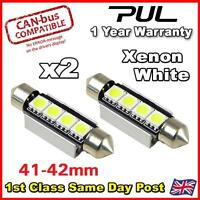 2X FORD TRANSIT WHITE 4 LED 41MM FESTOON INTERIOR LIGHT BULBS -LED20WX2