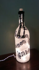 Music Notes Bottle Lamp Hand Painted Lighted Stained Glass look