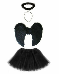 Ladies Adult DARK FALLEN ANGEL Fancy Dress Costume Halloween Black Fairy Outfit