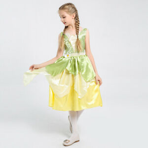 Girls Tiana Fancy Dress Princess And The Frog Kids Cosplay Xmas Party Costume