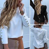 VONDA Women Baggy Long Sleeve Tops Solid Button T Shirt Casual Plain Blouse Tee