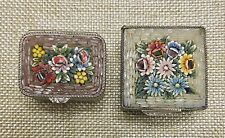 Two (2 )Vintage Silver Tone Micro Mosaic Pill Trinket Boxes Made in Italy