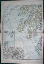 1892 LARGE VICTORIAN  MAP- SCOTLAND SOUTH WEST,SHETLAND,ORKNEY,ENVIRONS GLASGOW