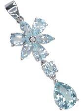 Sky Blue Topaz Gemstone Flower Journey Sterling Silver Pendant + Chain