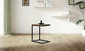 WOODEN & IRON C SHAPE BEDSIDE NIGHT STAND TABLE FOR BEDROOM - BLACK