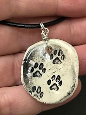"Dog Paws Worry Stone Handmade Pottery Native American 18"" Black Rope Necklace A"