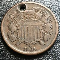 1865 Two Cent Piece 2c High Grade XF Details #27387