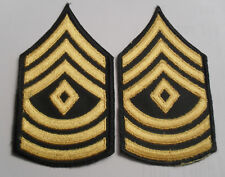 NAM WAR ERLY CE ARMY GREEN & GOLD 1ST SGT 1ST CLASS MATCHED PR CHEV EMB ON TWILL