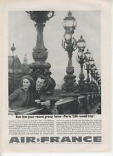 1962 Air France Airlines PRINT AD features: Paris couple Vintage Lighted bridge