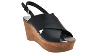 Marc Fisher Leather Cross-band Back-strap Wedges - Sesame pick size color new