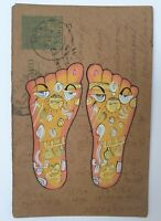 Miniature painting on vintage postcard, painted feet, Rajasthan India, handmade