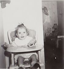 Vintage Antique Photograph Adorable Little Baby Sitting In High Chair in Kitchen
