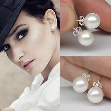 1 Pair Fashion Earrings Stainless Steel Pearl Rhinestone Earrings 8mm