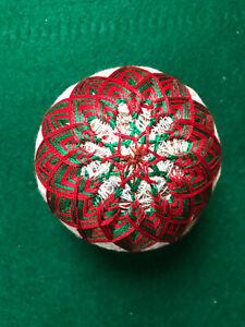Japanese Folk Art Temari Ball Handmade In Red and Green