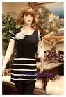 Celebrity Women Black Stripe Tunic Short Sleeve Knit Sweater mini Dress S M L