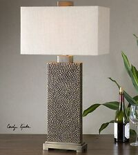 Pitted Espresso Bronze Table Lamp | Textured Contemporary