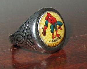 MARVEL COMICS AMAZING SPIDER MAN LOGO ADVERTISING ADJUSTABLE NOVELTY METAL RING