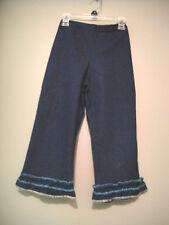 Betsy Girls Stretch Dark Denim Ruffled Leg Capri Jeans Size 10 Made in Italy