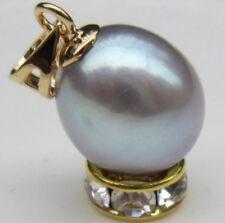 Charming 10-11mm Natural South Sea Gray Drops of Water Loose Pearl Pendant 14K