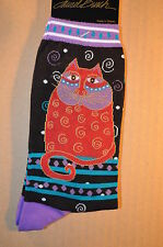"Laurel Burch Cat Pattern Socks-"" CAT WITH SWIRLS"" Red and Black #1104"