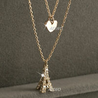 18k gold gf made with Swarovski crystal eiffel tower heart pendant necklace