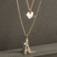 18k rose gold gf made with Swarovski crystal eiffel tower heart pendant necklace