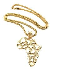 "NEW AFRICA MAP HIP HOP PENDANT & 4mm/36"" FRANCO CHAIN NECKLACE - XP886"