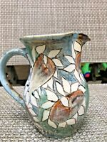 Small Pottery Pitcher Signed GRS Ohio Studio? Green Brown White Sunflowers