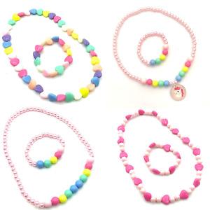 Girls Plastic Necklace and Bracelet Set Kids Jewellery Party Bag Fillers