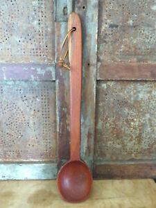 """Early American Treenware Walnut Wood LARGE 18 1/2"""" Spoon Ladle Midwest Folk Art"""