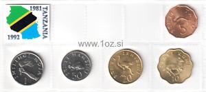 TANZANIA SET 1981 / 1992 - 5 coins ( 5, 10, 20, 50 SENTI + 1 SHILLING ) UNC