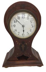 Edwardian Mahogany Art Nouveau Clock With Key