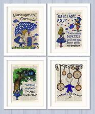 Set of 4 Alice in Wonderland Antique Book page Art Prints A4-Nursery Set 2 Blue
