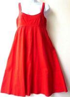 Sun Dress Sz 4 Bright Orange Cotton pin pleat bodice gathered full skirt Morgan