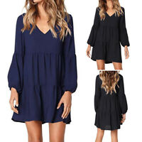 Women Ladies V-Neck Dress Lantern Long Sleeve Casual Skater Mini Dress UK 8-26